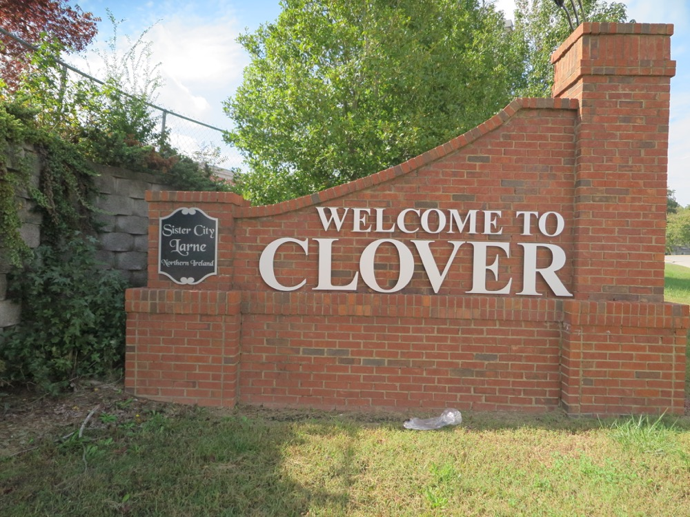 Clover, NC Welcome Sign